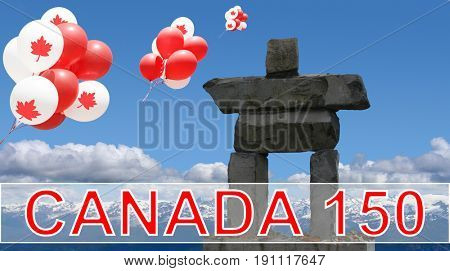 Canada Balloons with maple leaf floating over an inukshuk in the Rocky mountains for Canada's 150 Birthday Celebrations