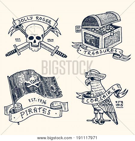 set of engraved, hand drawn, old, labels or badges for corsairs, skull with swords, chest with gold, flag, parrot. Jolly roger, treasures. Pirates marine and nautical or caribbean sea, ocean emblems