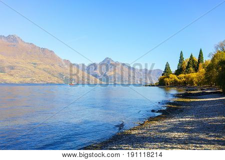 Beautiful Lake Wakatipu in Queenstown in Autumn South Island of New Zealand
