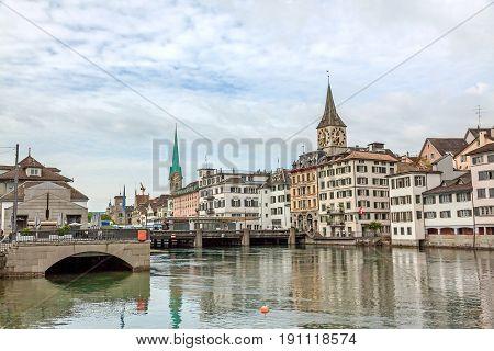 Zurich Downtown, Fraumunster And St. Peter Church