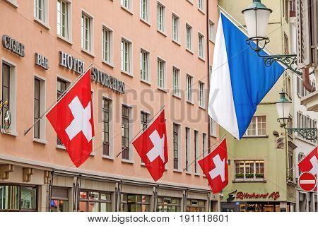 Zurich, Hotel Storchen With Swiss Flags And Zuerich Flag