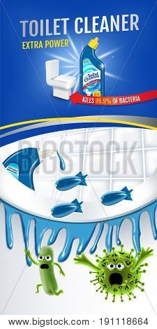 Fresh fragrance toilet cleaner ads. Cleaner bobs kill germs inside toilet bowl. Vector realistic illustration.