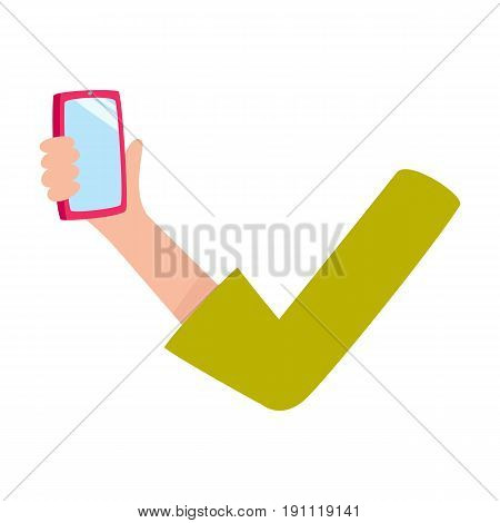 Woman arm, hand showing, holding mobile phone, smartphone with empty screen, cartoon vector illustration isolated on white background. Cartoon female hand showing, holding mobile phone, smartphone