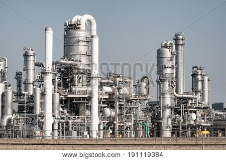 Pipework on a oil industry refinery plant