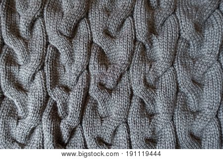 Vertical Plaits On Dark Grey Knit Fabric