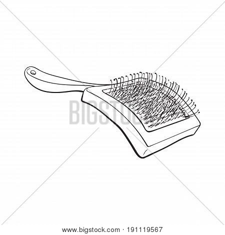 Pet, cat, dog hair brush, grooming accessory, black and white sketch style vector illustration isolated on white background. Hand drawn illustration of brush, grooming tool for pet, dog, cat care