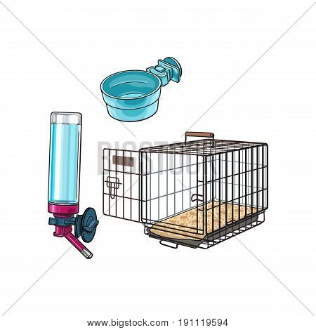 Metal wire pet travel carrier, feeding bowl and refillable drinker, sketch vector illustration isolated on white background. Hand drawn Metal wire cage, carrier, bowl, drinker for pet transportation