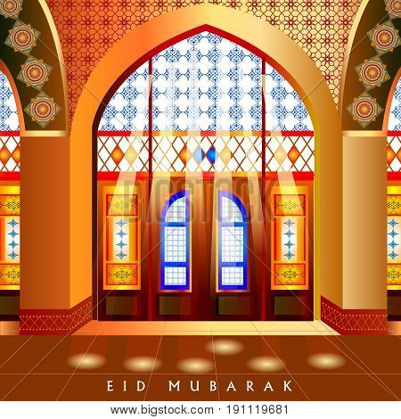 easy to edit vector illustration of Islamic design mosque door and window for Eid Mubarak Happy Eid celebration background