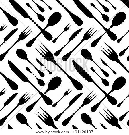 Cutlery seamless vector pattern. Silverware hand implements - spoon, knife and fork black silhouettes on white background. Restaurant and meal theme wallpaper design.