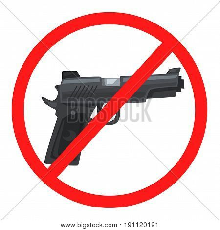 No weapon sign. Cartoon wector illustration. Stop violence