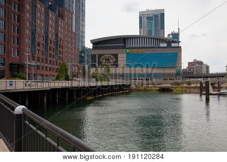 Boston Massachusetts USA - July 2 2016: Famous The Garden. TD Garden is the home of the storied NHL club Boston Bruins and NBA club Boston Celtics