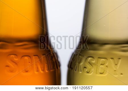 Prague Czech Republic - June 3 2017: Detail of Somersby cider. It is a brand of 4.5% abv cider produced by Danish brewing company Carlsberg Group. It is being sold in more than 46 countries. Illustrative Editorial.