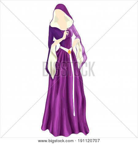 the violet gothic dress of  medieval period on mannequin.