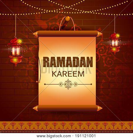 easy to edit vector illustration of space on scroll for Ramadan Kareem Happy Eid celebration background