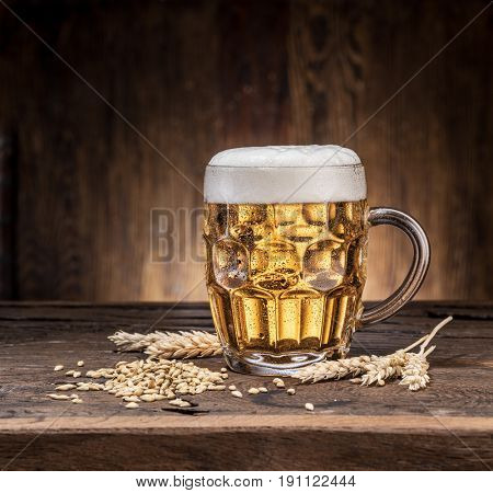 Frosted mug of beer on the wooden table.