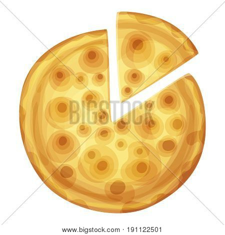 Bar pizza top view. Cartoon vector food illustration isolated on white background. American and Italian fast food pizza