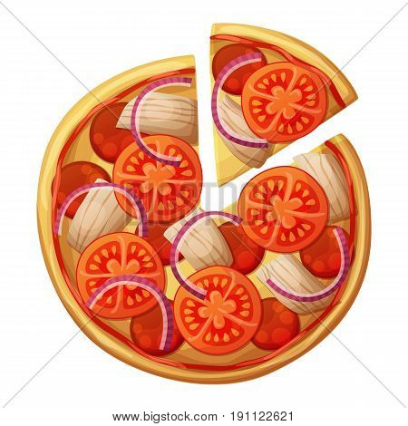 Pizza top view. Tomato, chicken, sausages or salami, red onion, ketchup. Cartoon vector food illustration isolated on white background. American and Italian fast food pizza