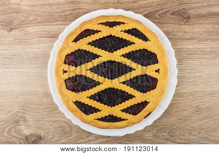 Bilberry Pie In White Dish On Wooden Table