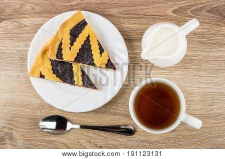 Bilberry Pie In Plate, Jug Of Milk, Cup Of Tea