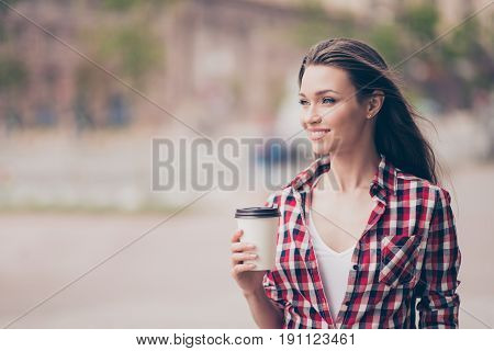 Dreamy Romantic Relaxed Young Girl Is Having A Tea And Walking In The City Outdoors, Smiling, In Cas