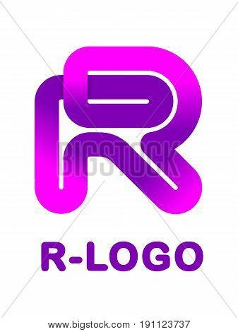 Abstract letter R - creative logo template vector illustration. Logo for corporate identity of company of ribbon, closed line of gradient color, tortuous path. Neon glowing letter. Typographical font. Graphic design elements.