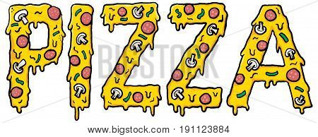 PIZZA word with cheesy pizza font. Vector Illustration.