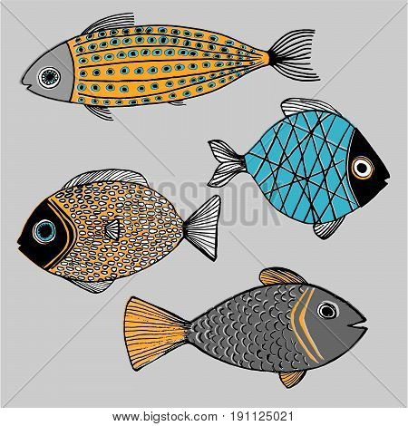 Illustration tropical fishes vector conception design graphic