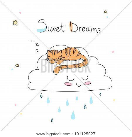 Nursery art: cute little hand-drawn tiger sleep on the funny soft cloud.