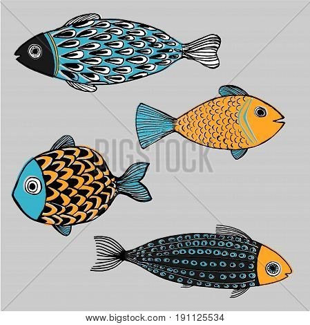 Illustration tropical kind fishes vector draw conception