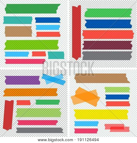 Mega collection of adhesive tape pieces vector set.