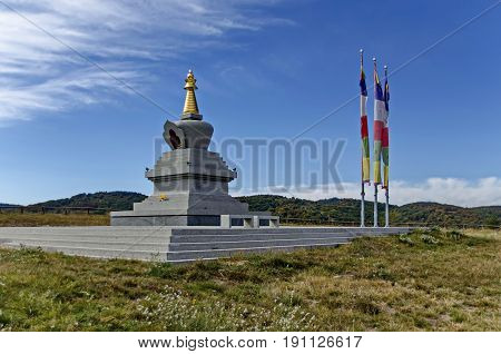 View of Buddhist stupa Sofia in the Retreat Center Plana - Diamondway Buddhism Bulgaria.