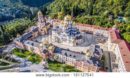 Christian landmark of the new Athos monastery from the height of bird flight