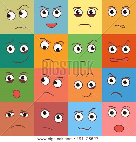 Vector smile day, creative smile cartoon style smiles with different emotions.