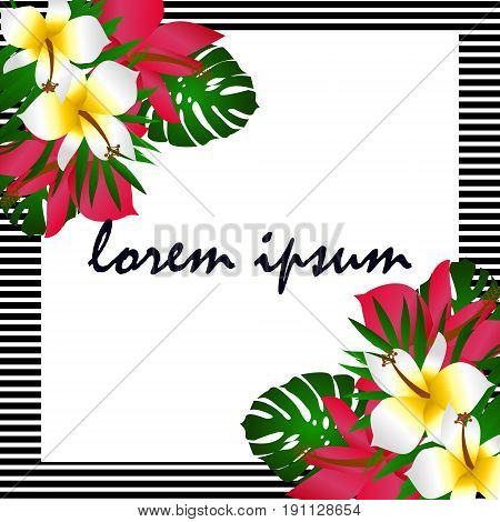 Exotic tropical border frame template for corner decoration. Bright greenery jungle palm tree leaves. Pink plumeria and hibiscus flowers. Vintage banner element for invitation greeting card packaging.