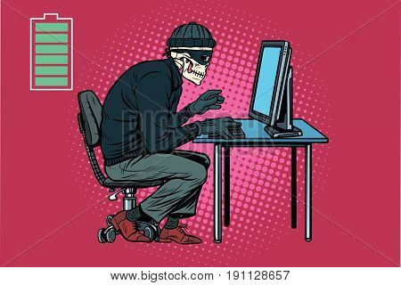Dead skeleton hacker hacked computer. Pop art retro vector illustration