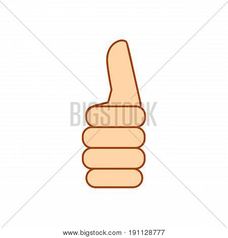 Hand showing different gestures. Hand thumb up icon isolated on white background. Vector illustration fist EPS10