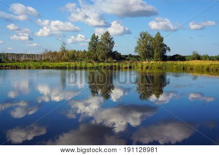Summer landscape, river and clouds, beautiful scenery