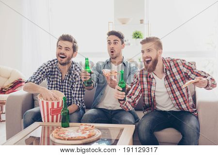Goal! Wow! Young Bearded Guys Are Having Fun, Watching Match And Drink Beer, Eat Pizza And Pop Corn
