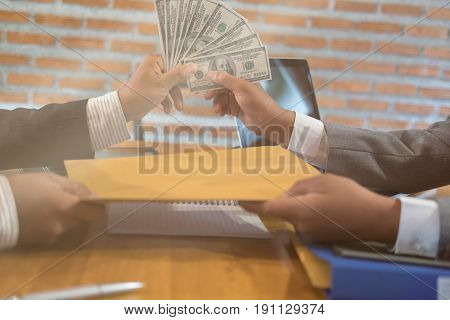 Businessman Receiving Envelope With Money. Man Giving Cash (banknote) To Business People - Bribery,