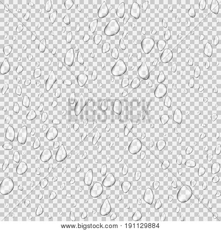 Different realistic transparent water drops. Glass bubble drop condensation surface on isolated background. Vector clean drop splash illustration