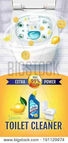 Citrus fragrance toilet cleaner gel ads. Vector realistic Illustration with top view of toilet bowl and disinfectant container.