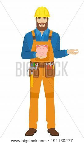 Worker with piggy bank gesturing. Full length portrait of worker character in a flat style. Vector illustration.
