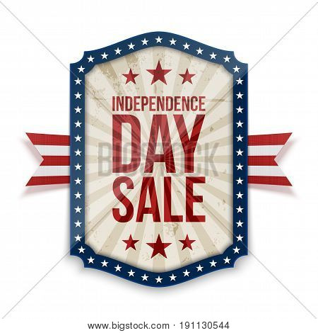 Independence Day Sale Banner colored as USA Flag. Vector Illustratio
