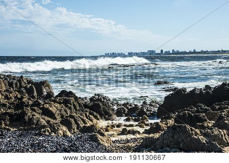 View of the city Punta del Este from La Barra Beach Uruguay atlantic coast
