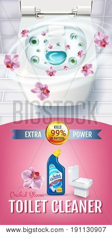 Orchid fragrance toilet cleaner gel ads. Vector realistic Illustration with top view of toilet bowl and disinfectant container