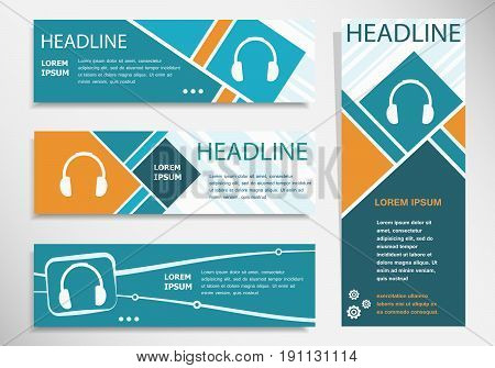 Headphone Icon On Horizontal And Vertical Banner. Modern Banner Design Template.