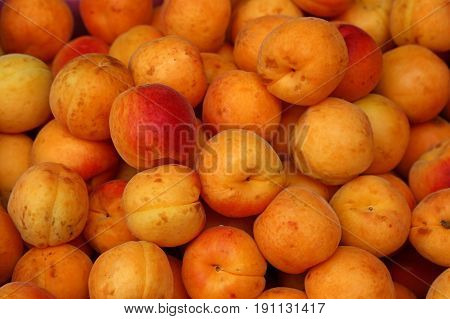 Fresh Ripe Apricots On Retail Market Close Up