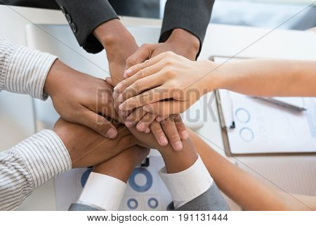 Young Businessman Joining Hand, Business Team Touching Hands Together - Unity, Harmony, Teamwork, Pa