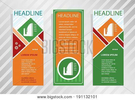 Iron Icon On Vertical Banner. Modern Banner, Brochure Design Template.