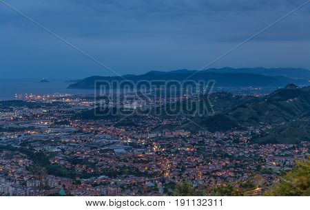 Panoramic View Of Marina Di Massa Tuscany Italy